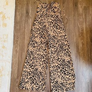 Forever so Tiger/Cheetah print jumpsuit size Small